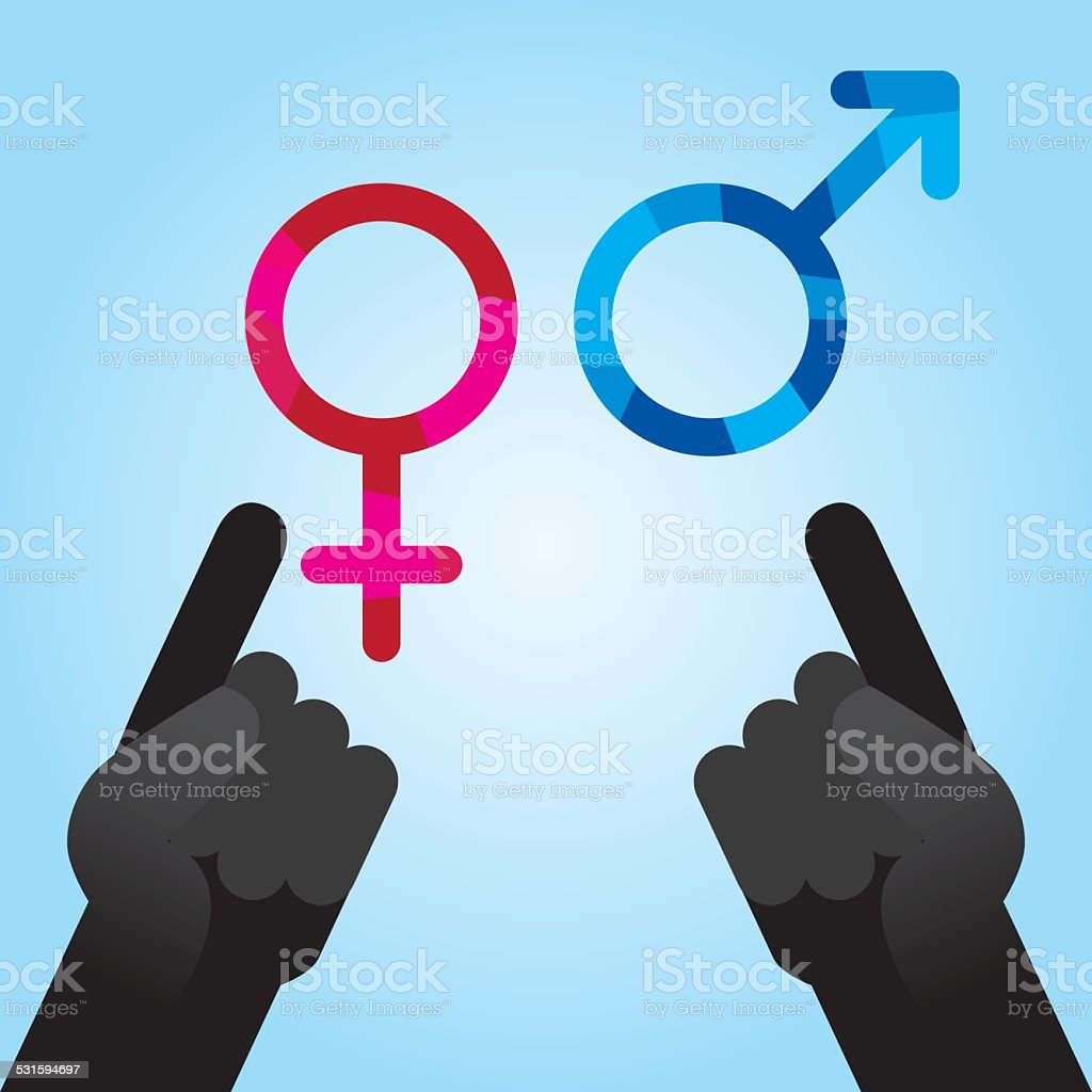 Pointing At Opposite Sexes vector art illustration