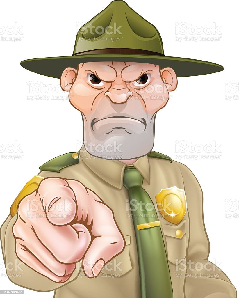 Pointing Cartoon Forest Ranger vector art illustration