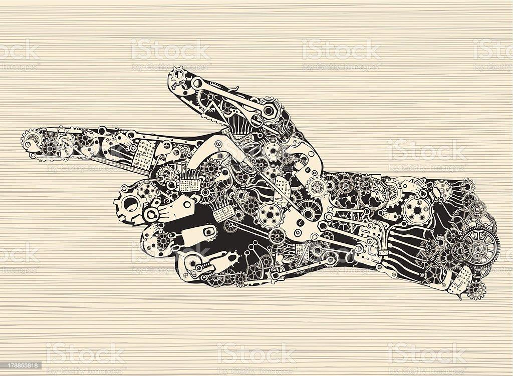Pointing Finger Mechanic Hand. royalty-free stock vector art