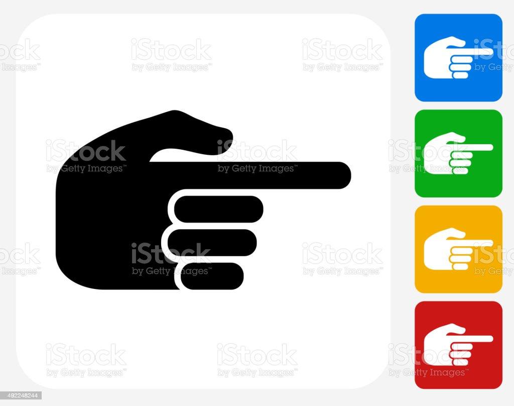 Pointing Hand Icon Flat Graphic Design vector art illustration
