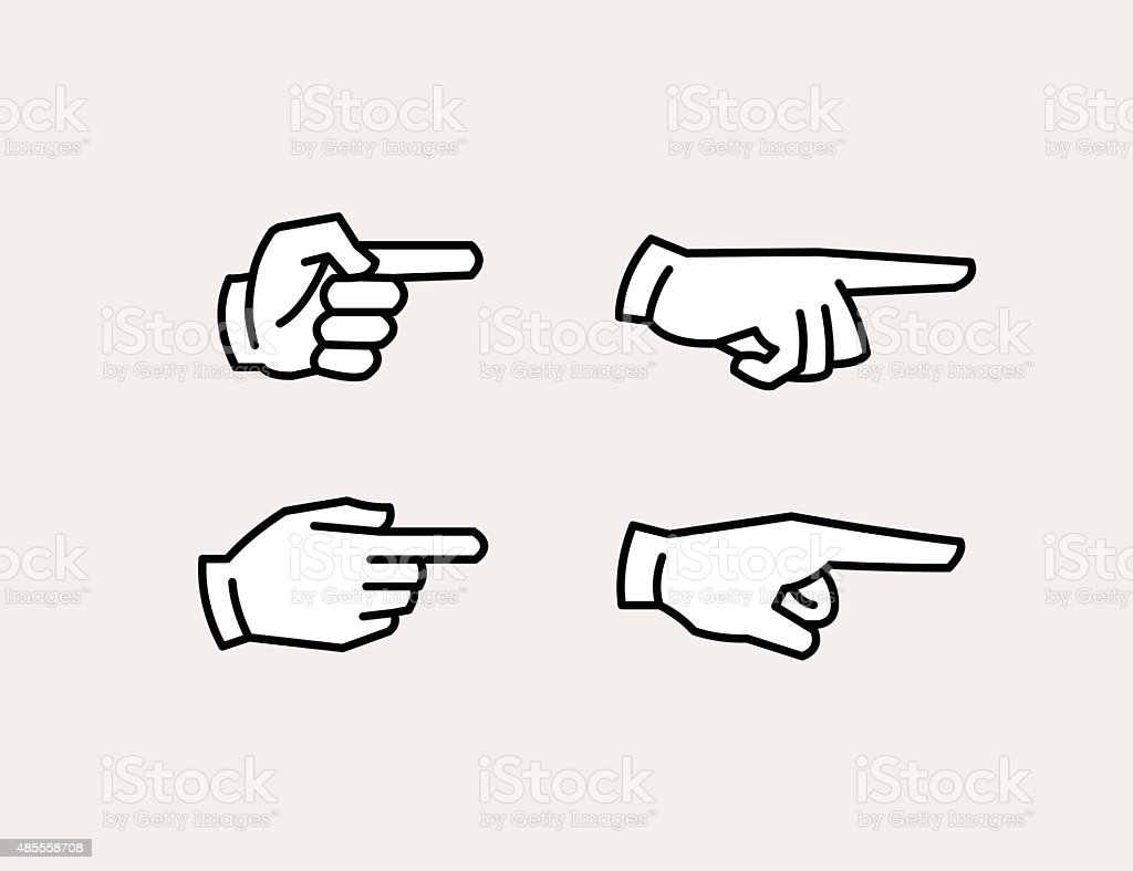 Pointing hand icons vector art illustration