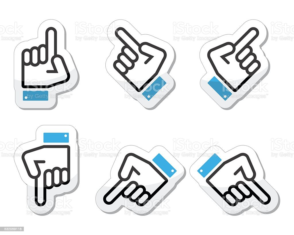 Pointing hand - up, down, across icon vector vector art illustration