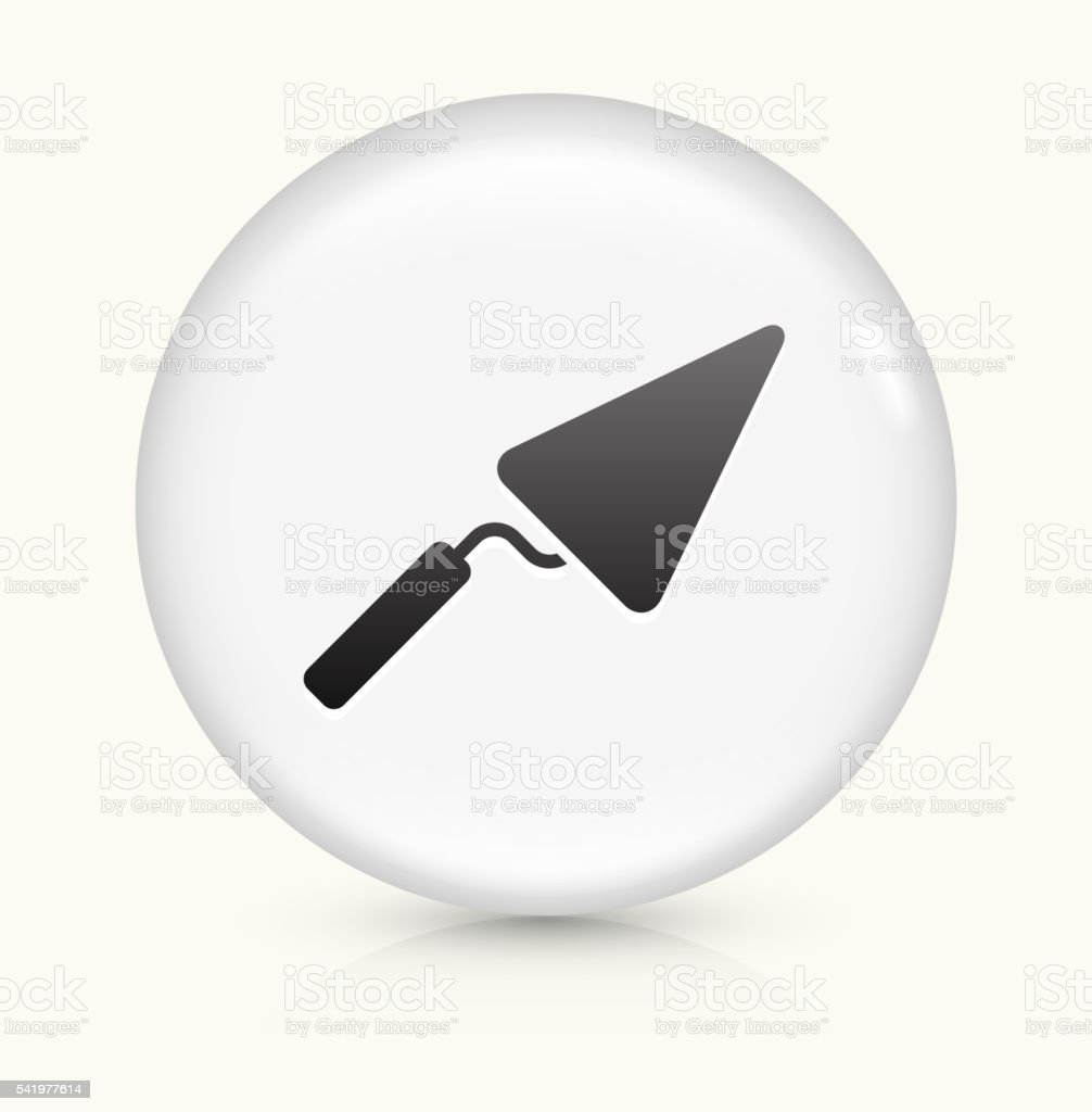 Pointing Trowel icon on white round vector button vector art illustration
