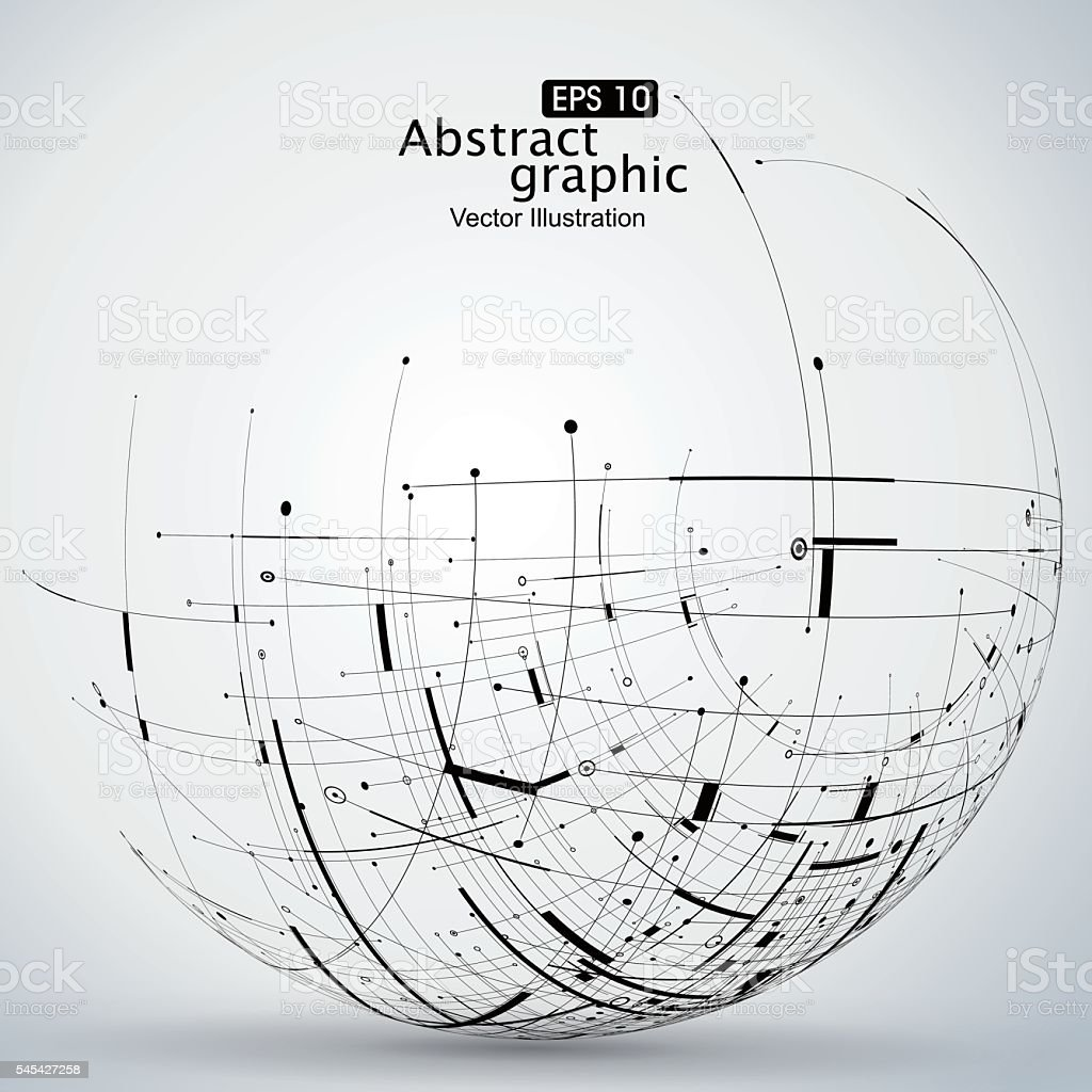Points, curves, surfaces formed wireframe sphere. vector art illustration