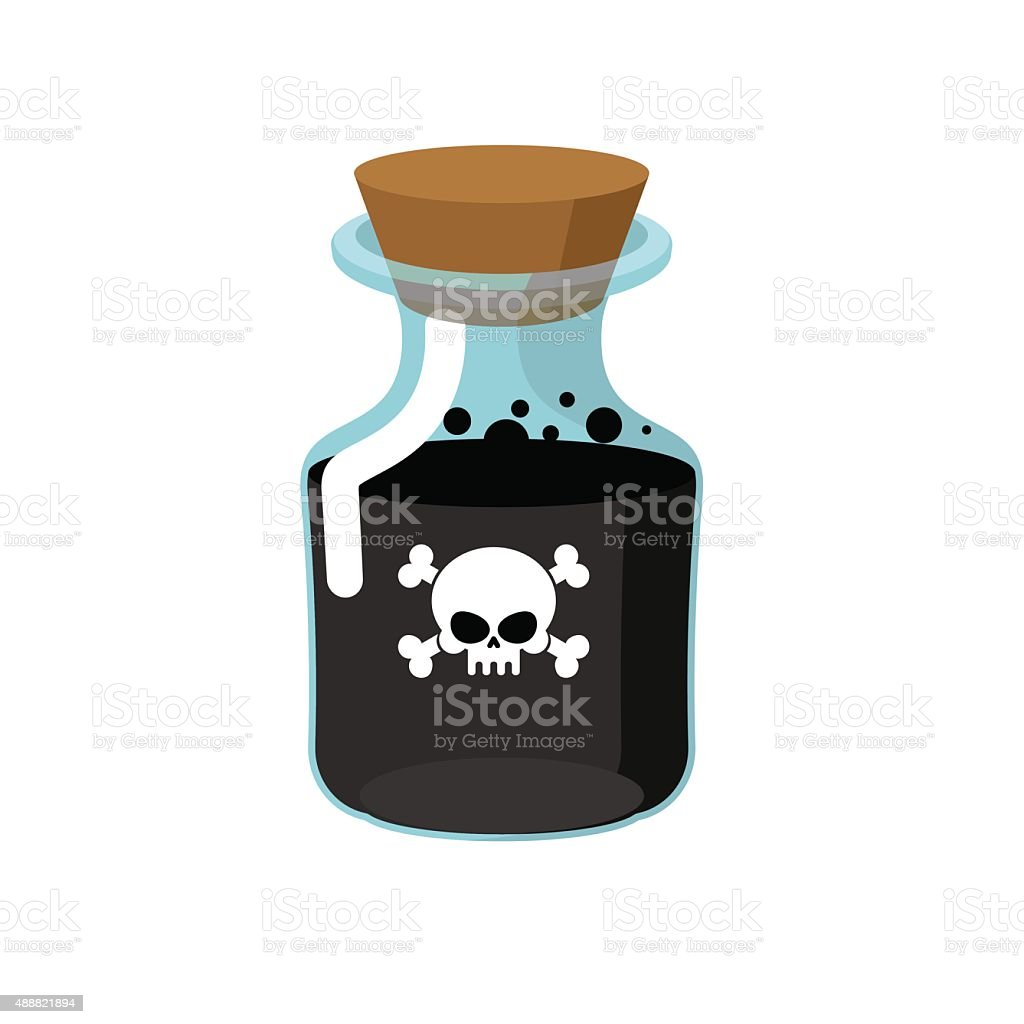 Poison. Bottle with black liquid. Glass magic Bank with skull vector art illustration