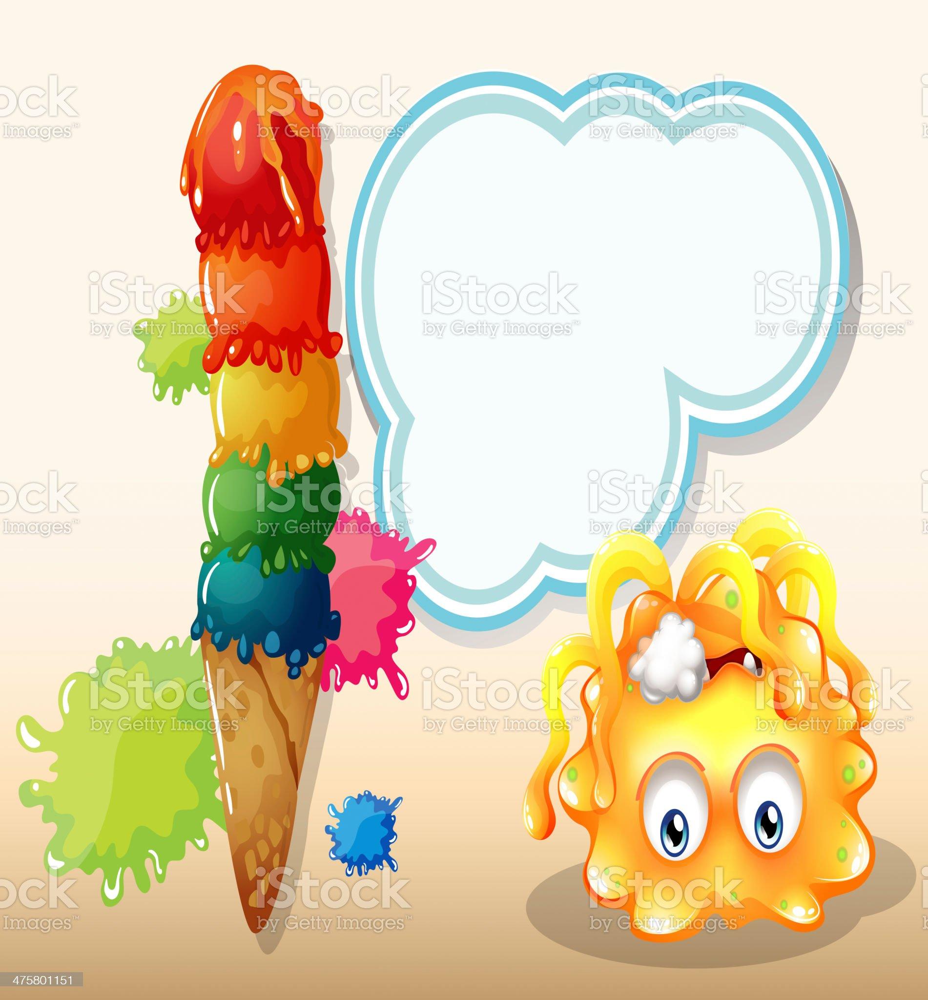 poisoned orange monster near the big icecream royalty-free stock vector art