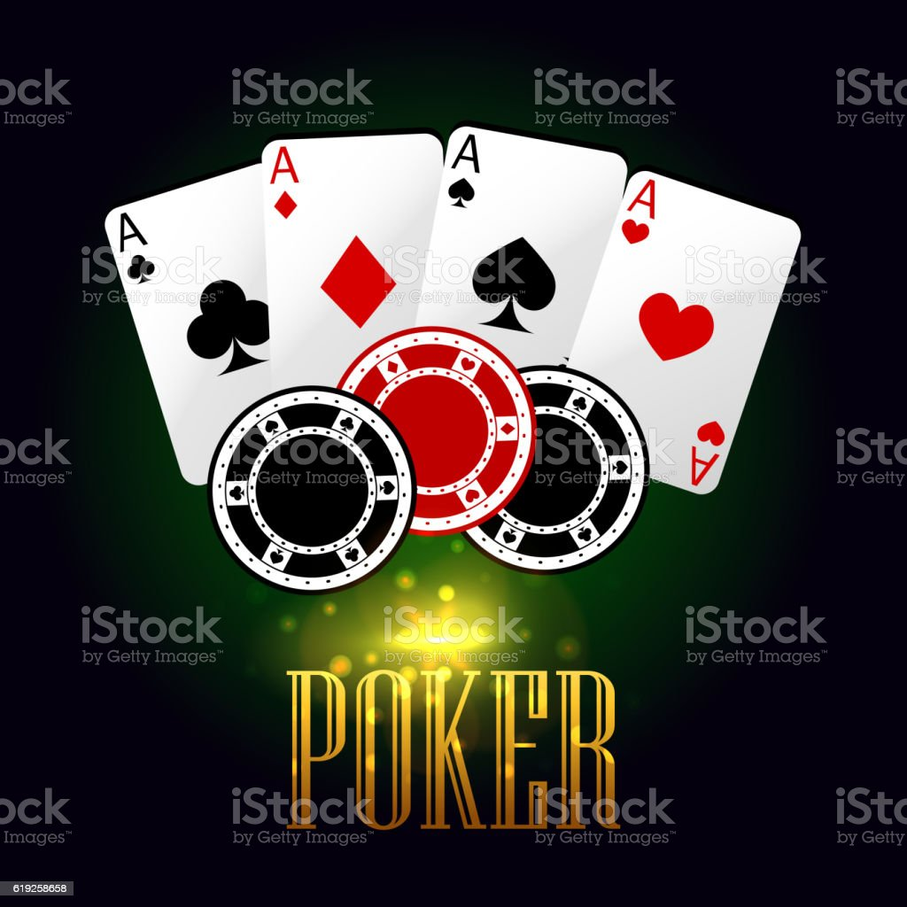 Poker banner with playing cards and chips vector art illustration