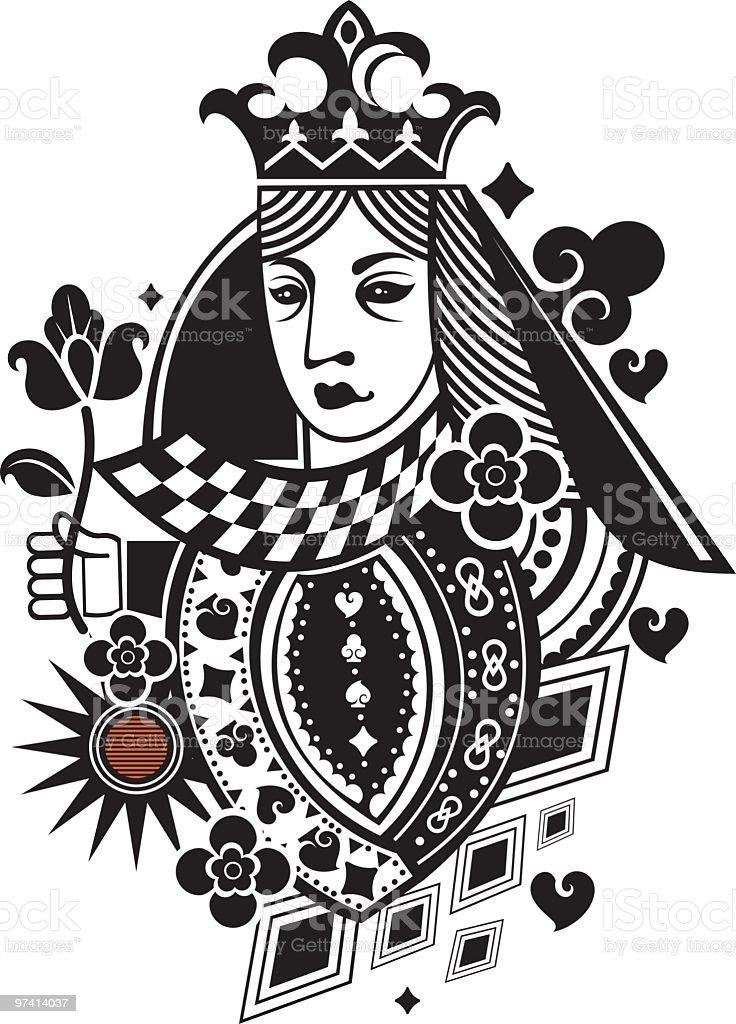 poker card gueen vector art illustration