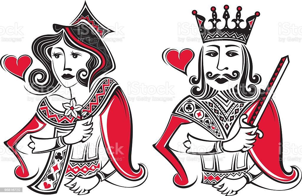poker card king and gueen vector art illustration