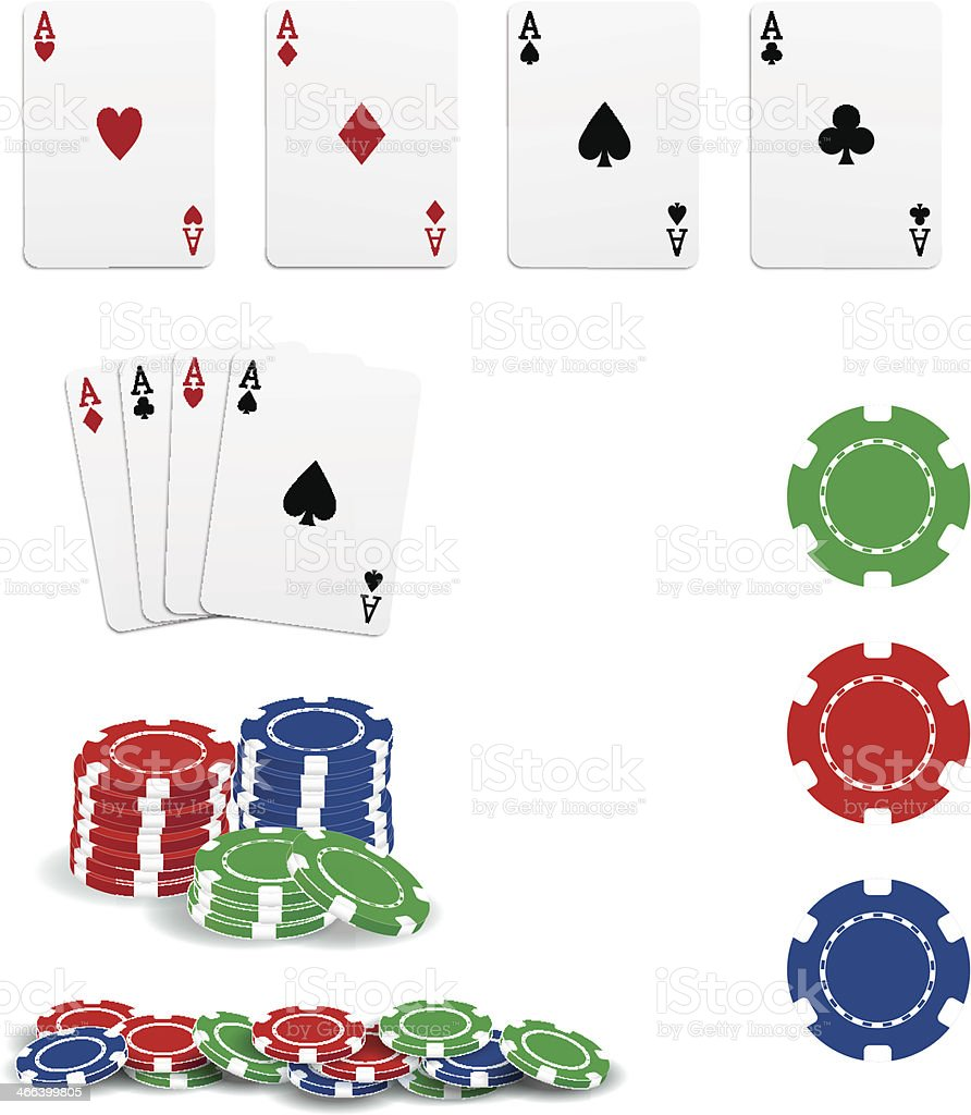 Poker cards and chips vector art illustration