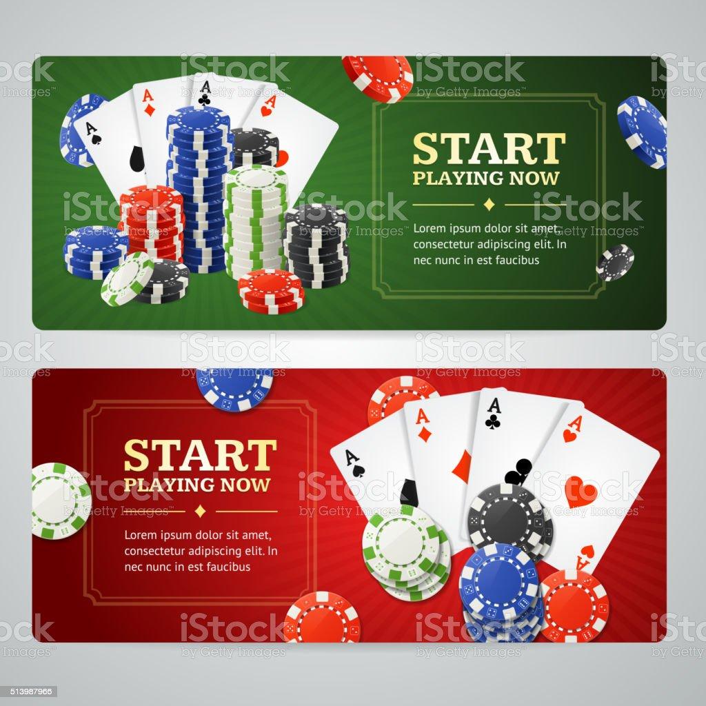 Poker Casino Banner Set. Vector vector art illustration