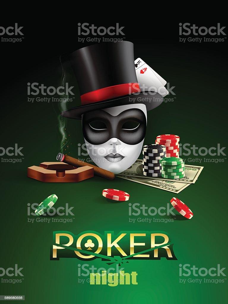 Poker casino poster. vector art illustration