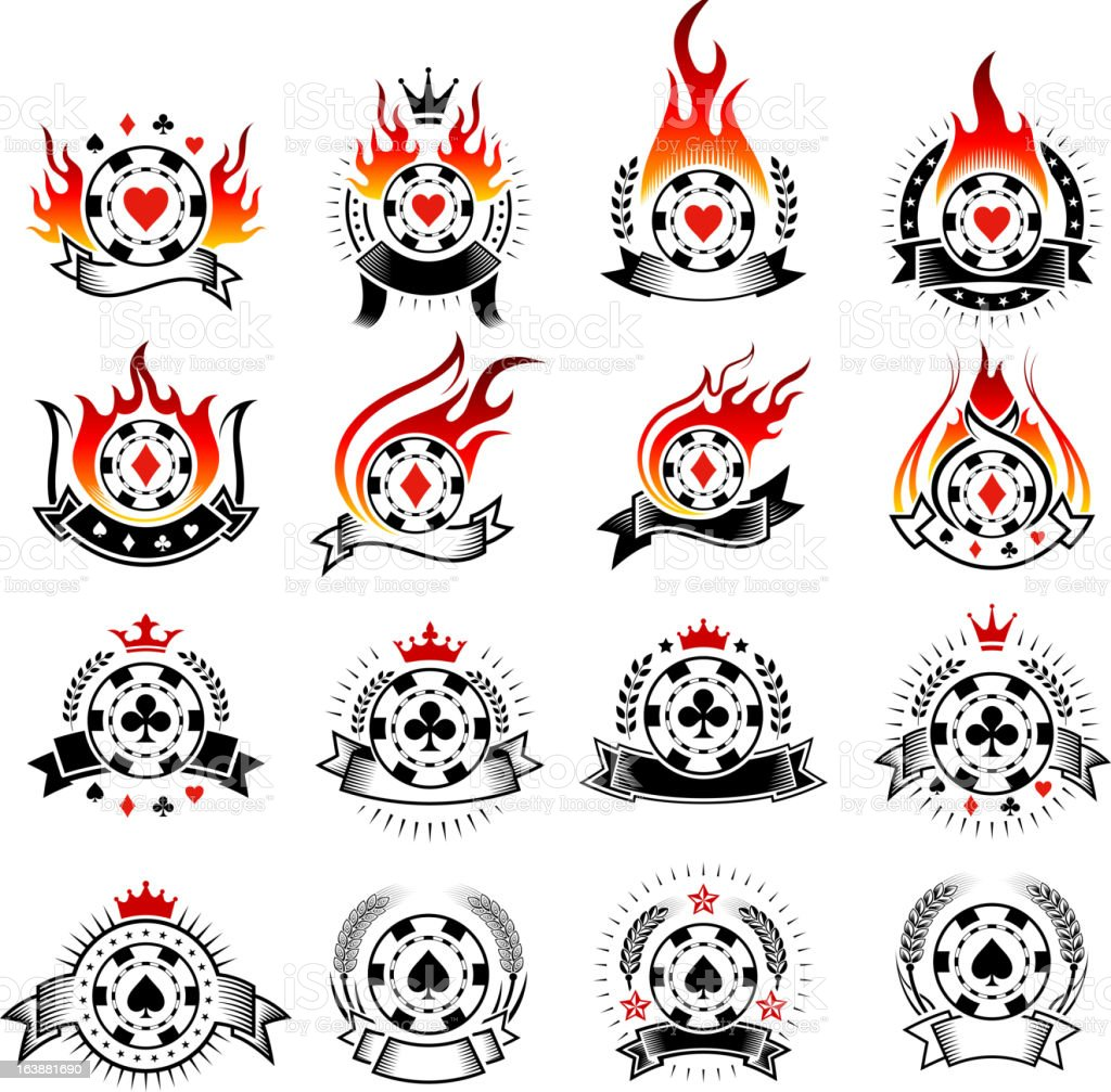 Poker Chip Badges with Fire black and white icon set royalty-free stock vector art