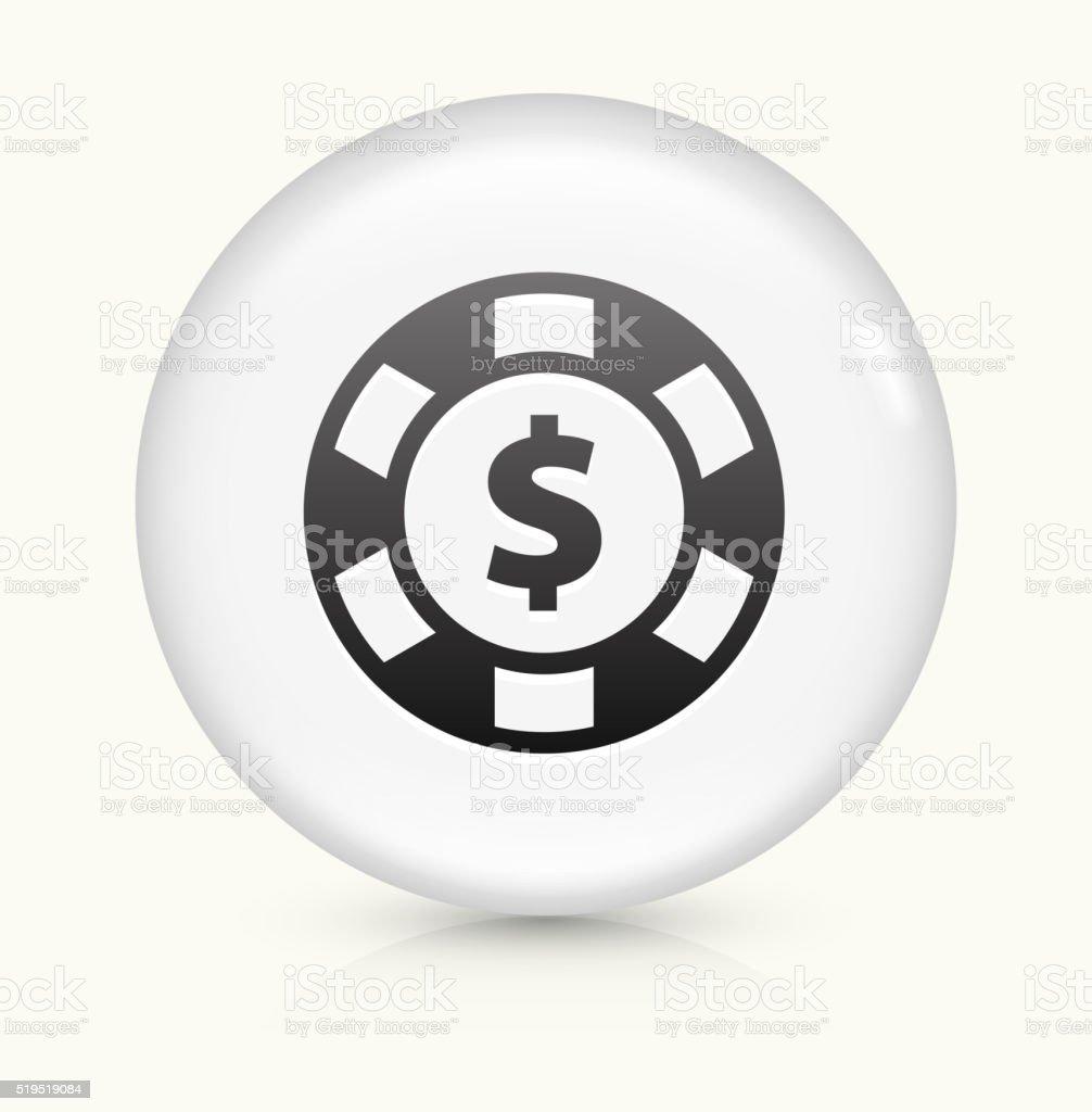 Poker Chip icon on white round vector button vector art illustration