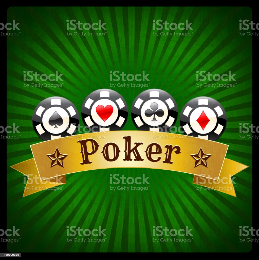 Poker Chips Banner on Green royalty free vector Background royalty-free stock vector art