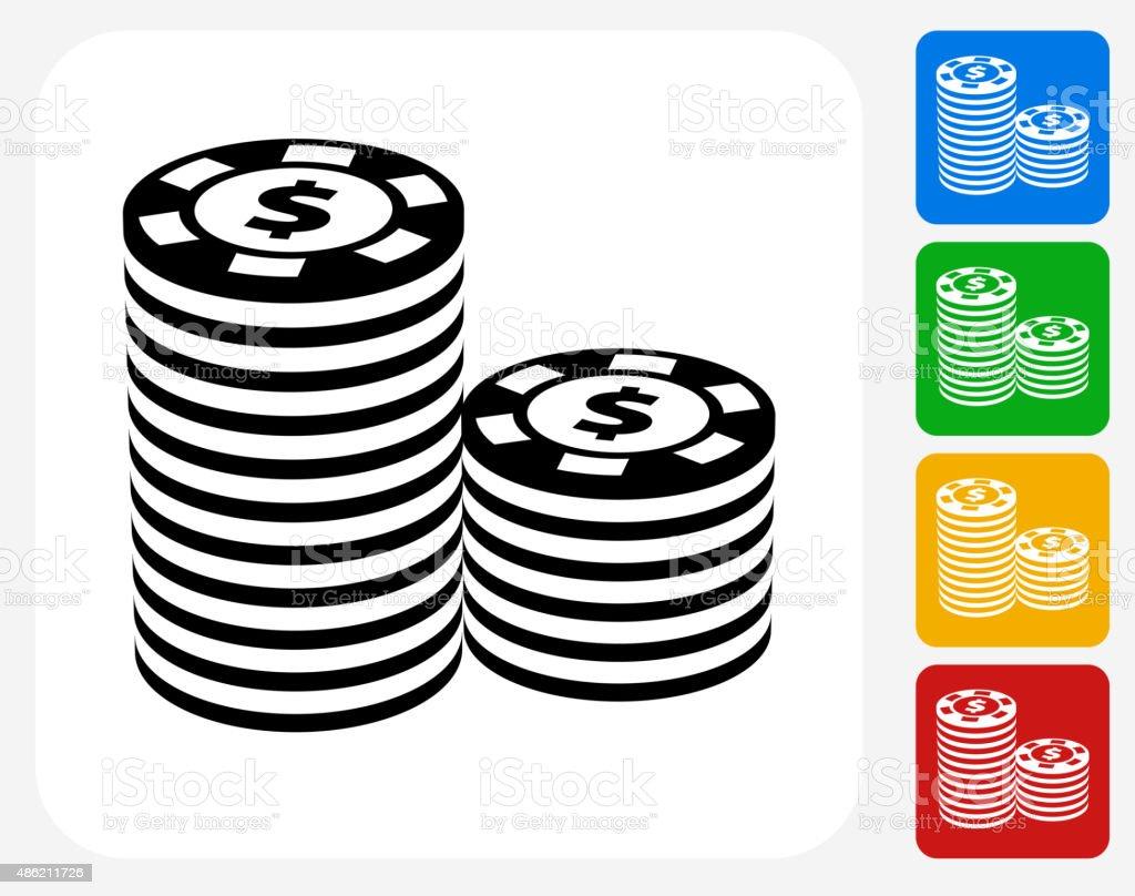 Poker Chips Icon Flat Graphic Design vector art illustration