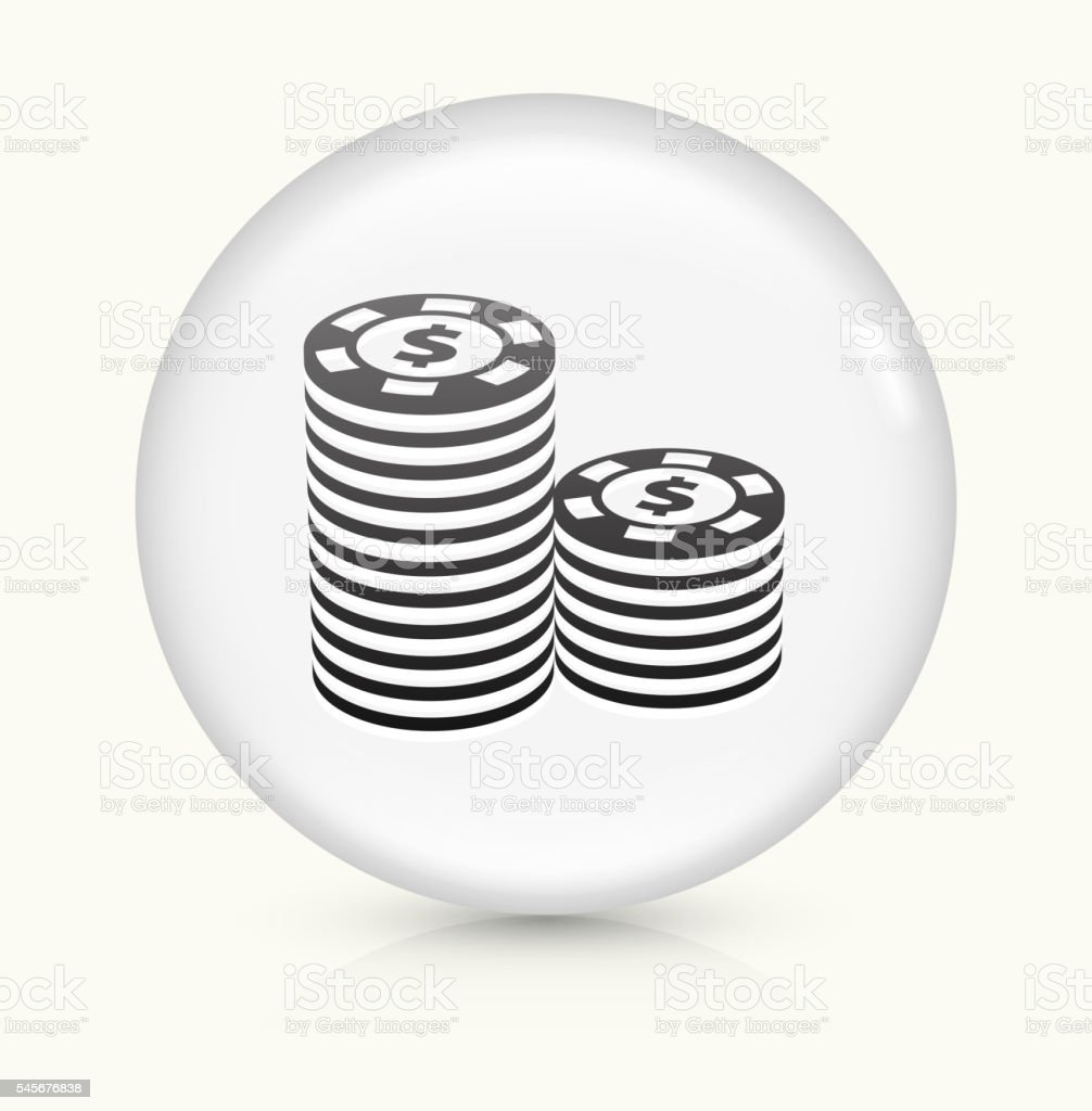 Poker Chips icon on white round vector button vector art illustration