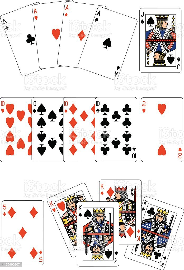 Poker Four of a Kind playing cards royalty-free stock vector art