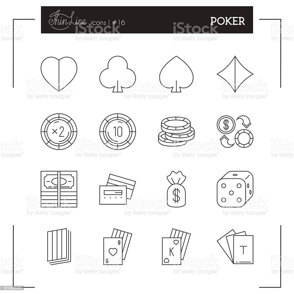Poker, Game and more thin line icons set. vector art illustration