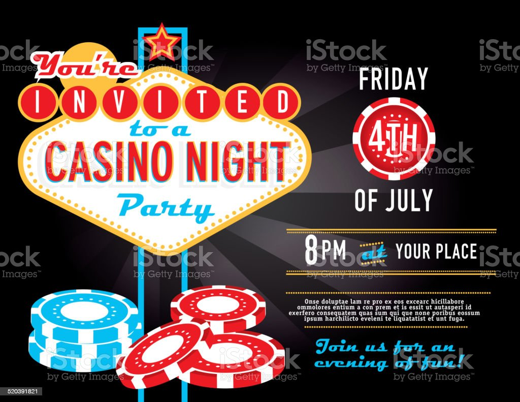 Poker game night invitation design horizontal composition vector art illustration