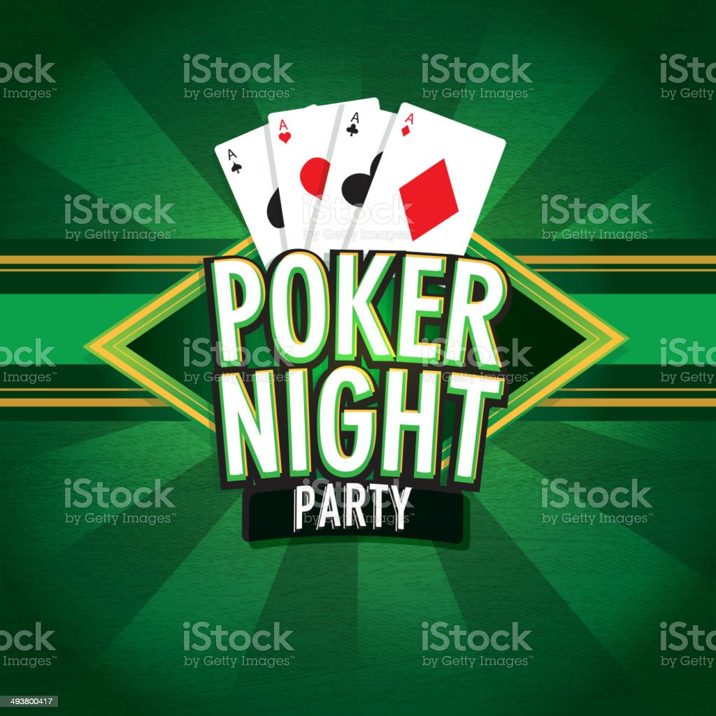 Poker game night invitation design vector art illustration