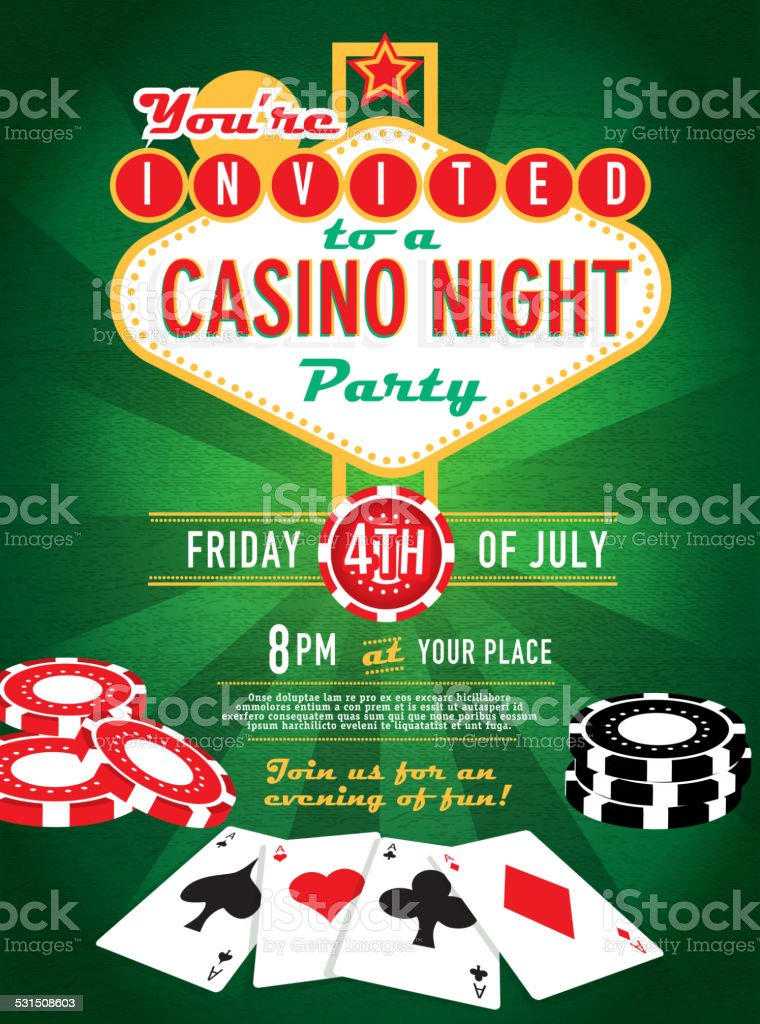 Poker game night invitation design vector art illustration