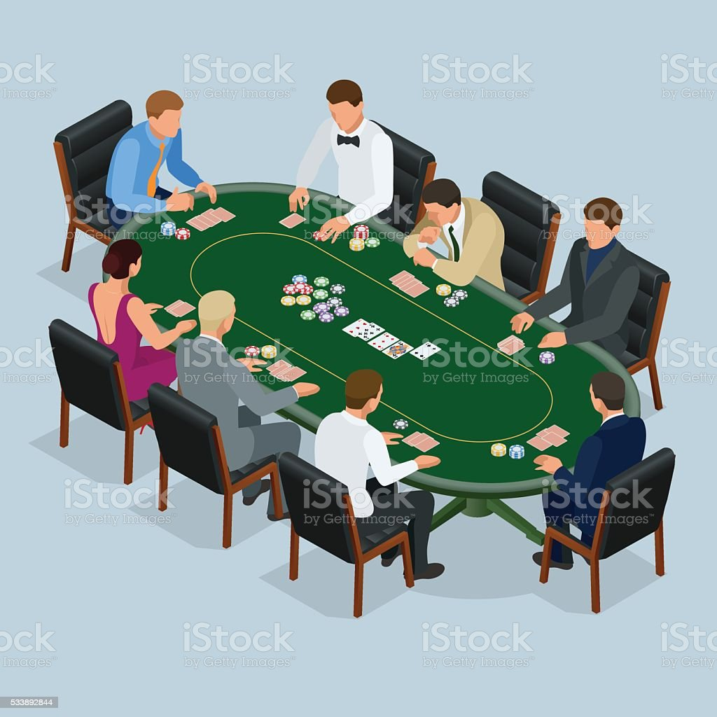 Poker in the casino vector art illustration