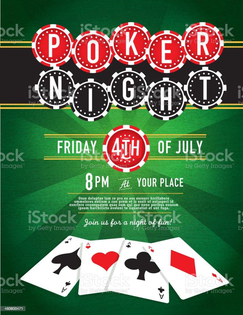 Poker Night chip and Casino game night invitation design template vector art illustration