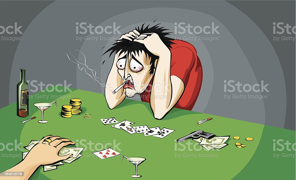 Poker player lost money with a good hand royalty-free stock vector art