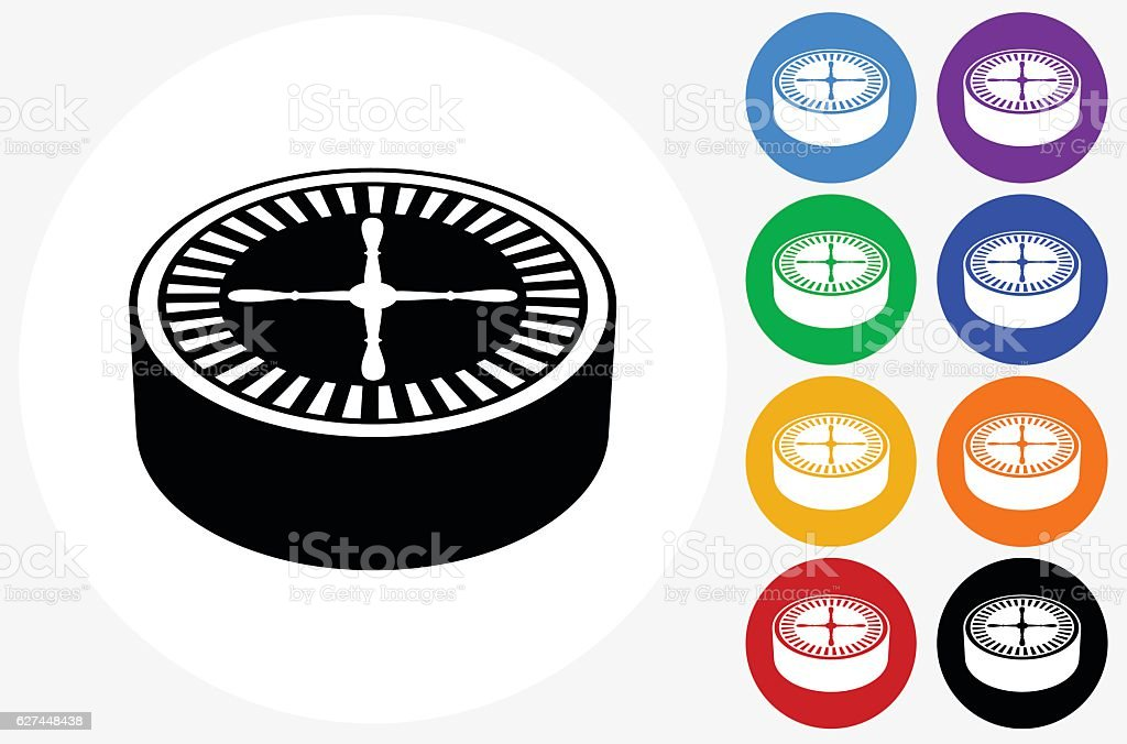 Poker Roulette Icon on Flat Color Circle Buttons vector art illustration