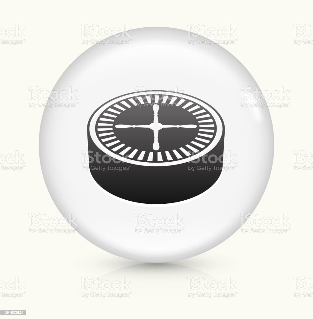 Poker Roulette icon on white round vector button vector art illustration