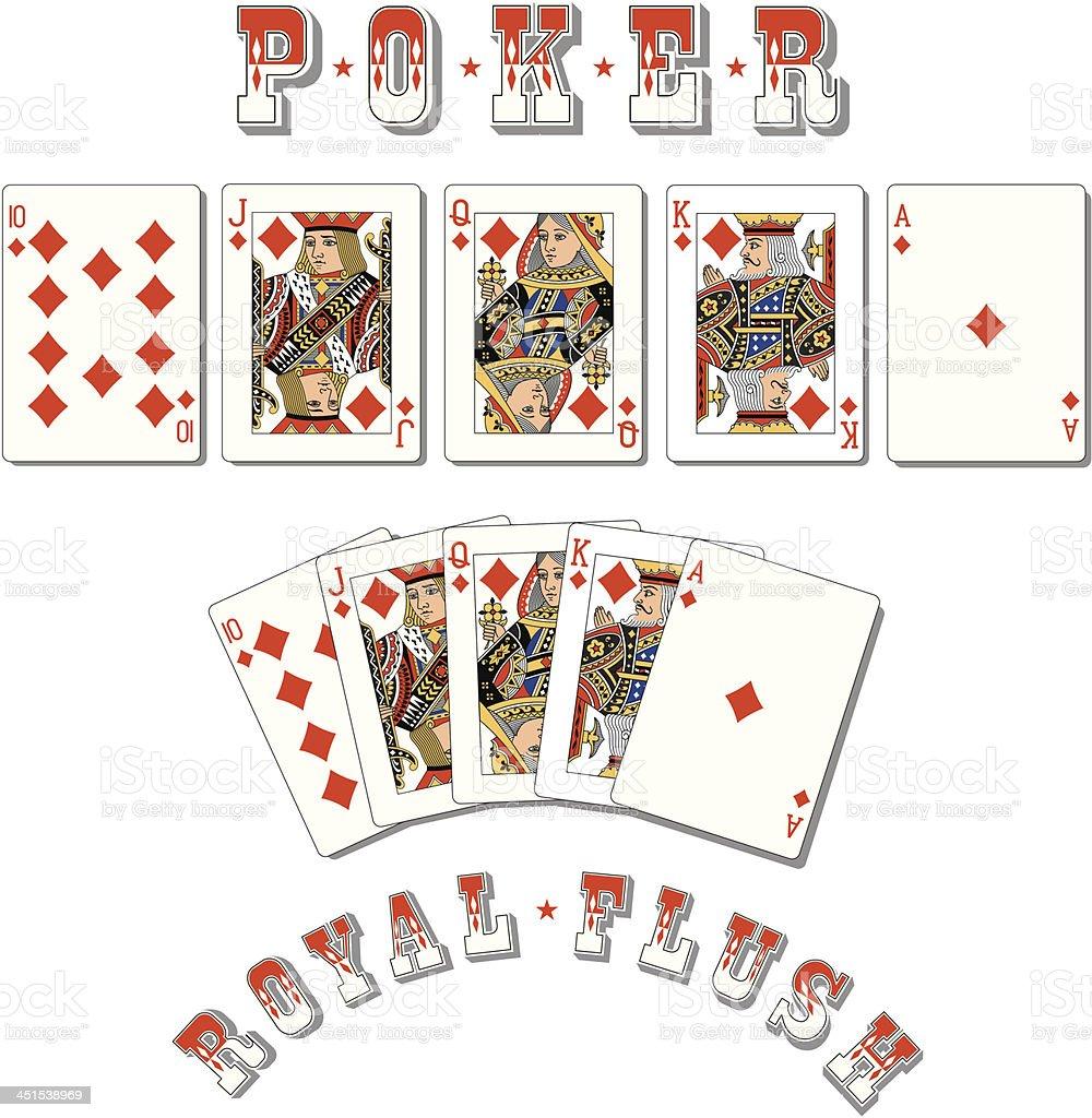 Poker Royal Flush Diamonds vector art illustration