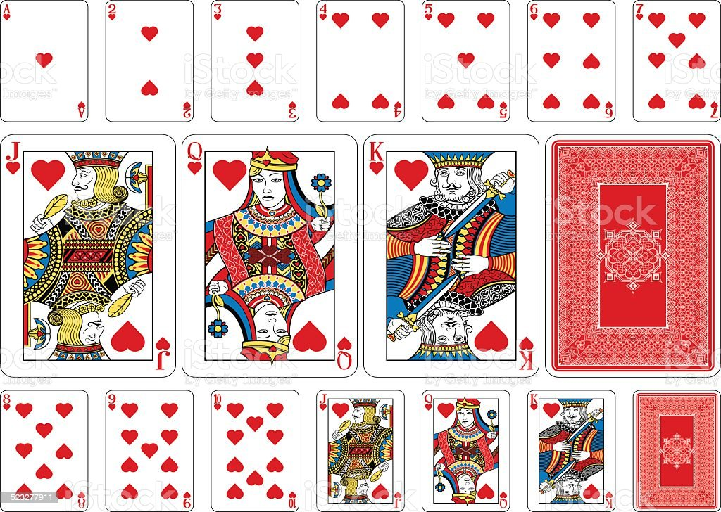 Poker size Heart playing cards plus reverse vector art illustration