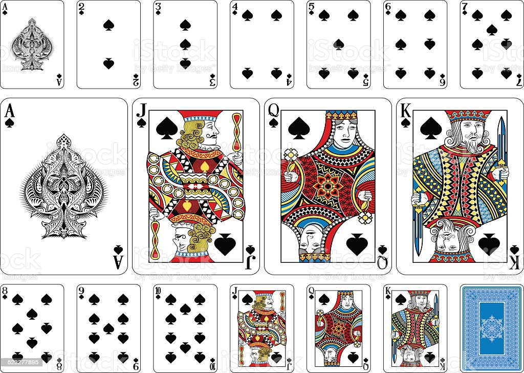 Poker size Spade playing cards plus reverse vector art illustration