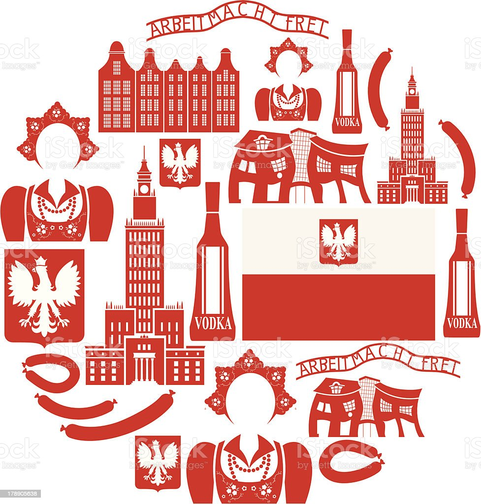 Poland Icon set vector art illustration
