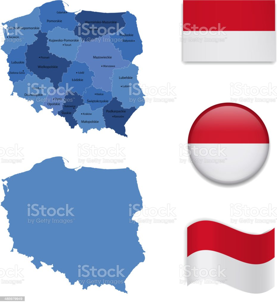 Poland Map and Flag Collection vector art illustration