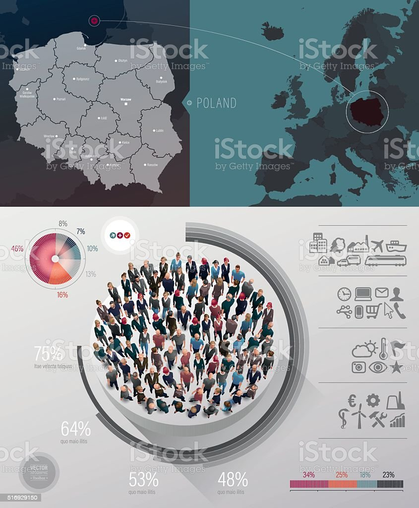 poland map infographic vector art illustration