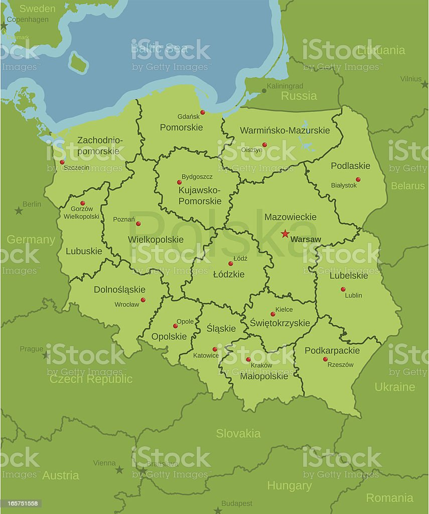 Poland Map showing Provinces vector art illustration