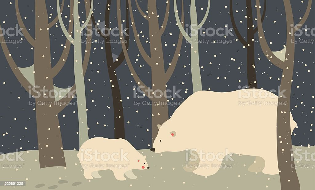 Polar bear and cub in the forest vector art illustration