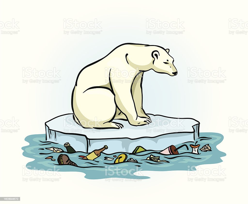 Polar bear and polluted sea royalty-free stock vector art