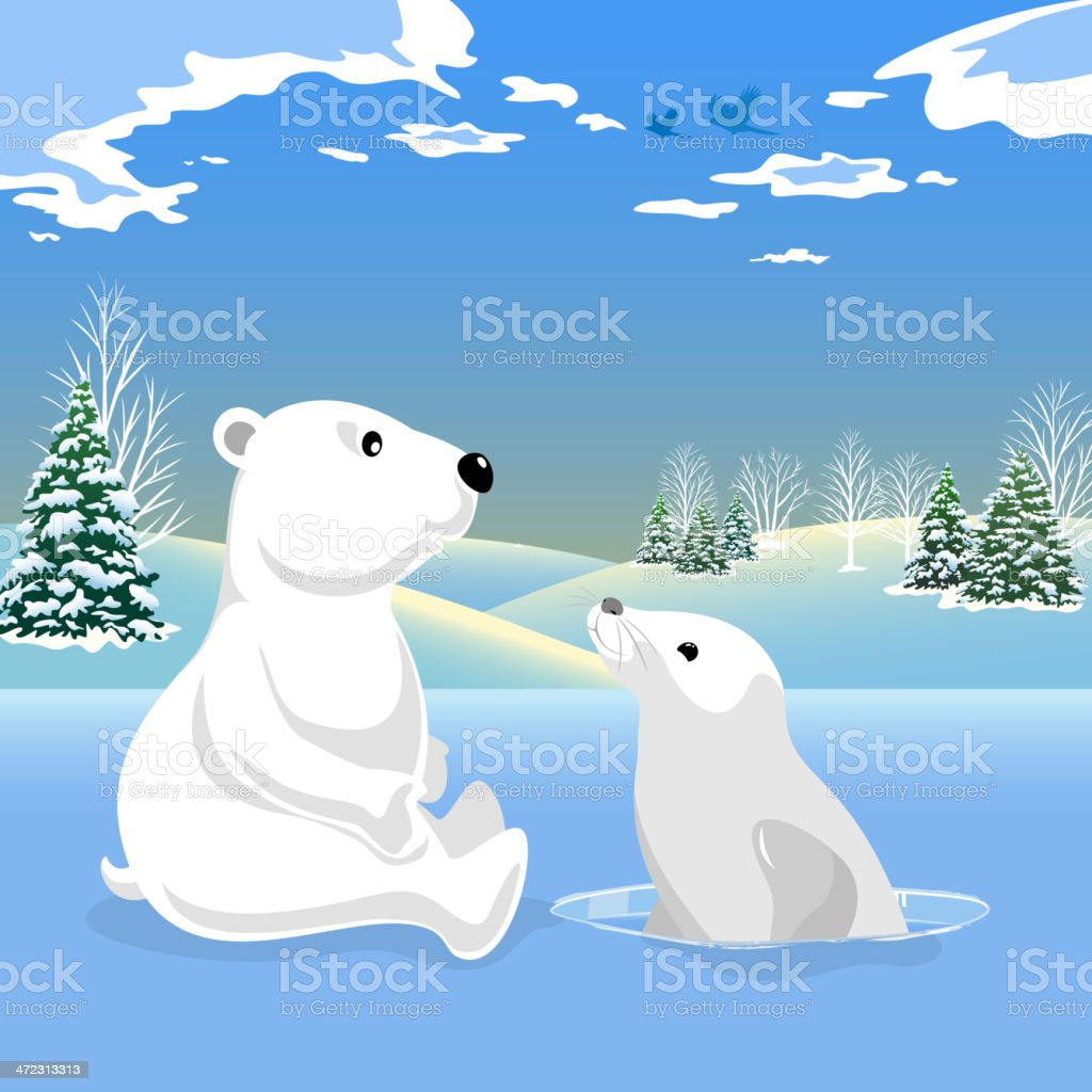 Polar Bear and Seal Can Be a Friend royalty-free stock vector art