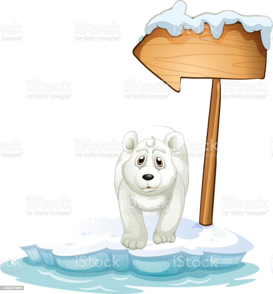 polar bear below the wooden arrowboard royalty-free stock vector art