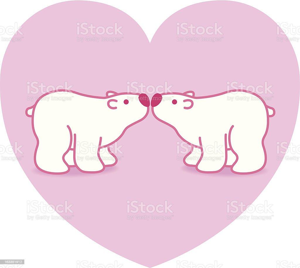 Polar Bear Couple against Pink Big Heart royalty-free stock vector art