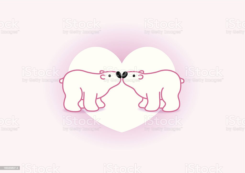 Polar Bear Couple against White Heart royalty-free stock vector art