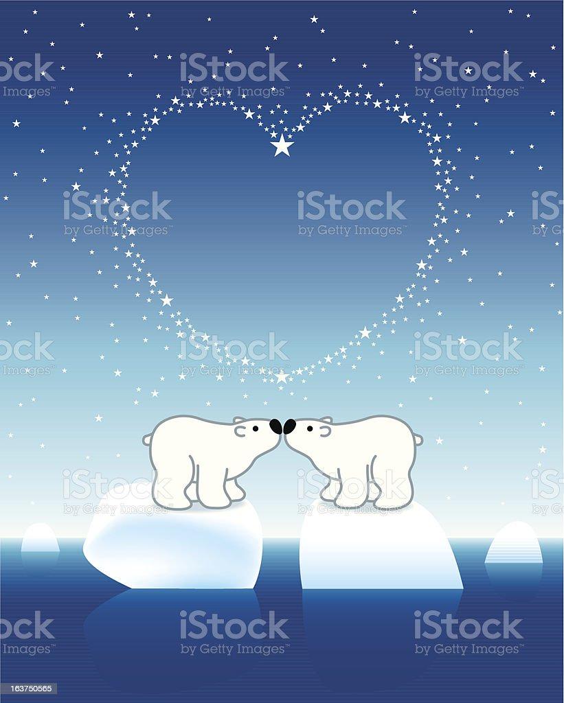 Polar Bear Couple on Icebergs with Star Heart royalty-free stock vector art