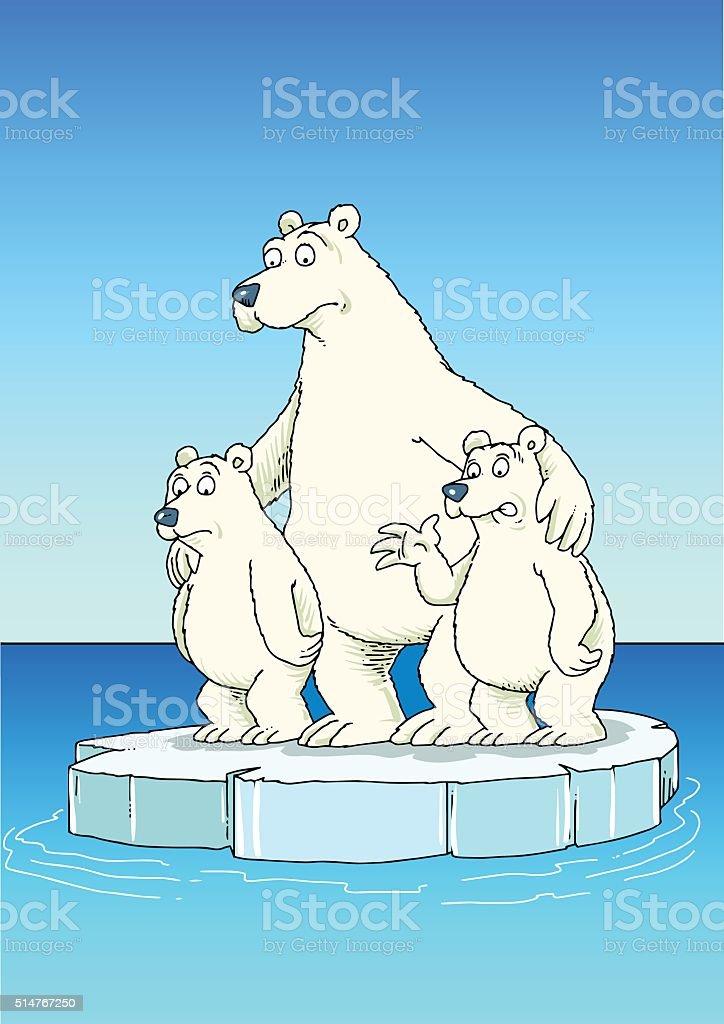 polar bear family vector art illustration