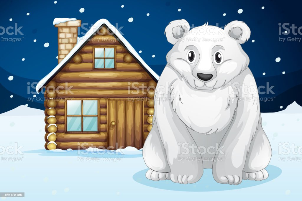 Polar bear infront of house royalty-free stock vector art