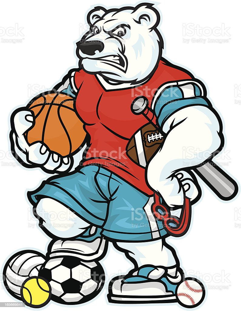 Polar Bear Mascot Allsport royalty-free stock vector art