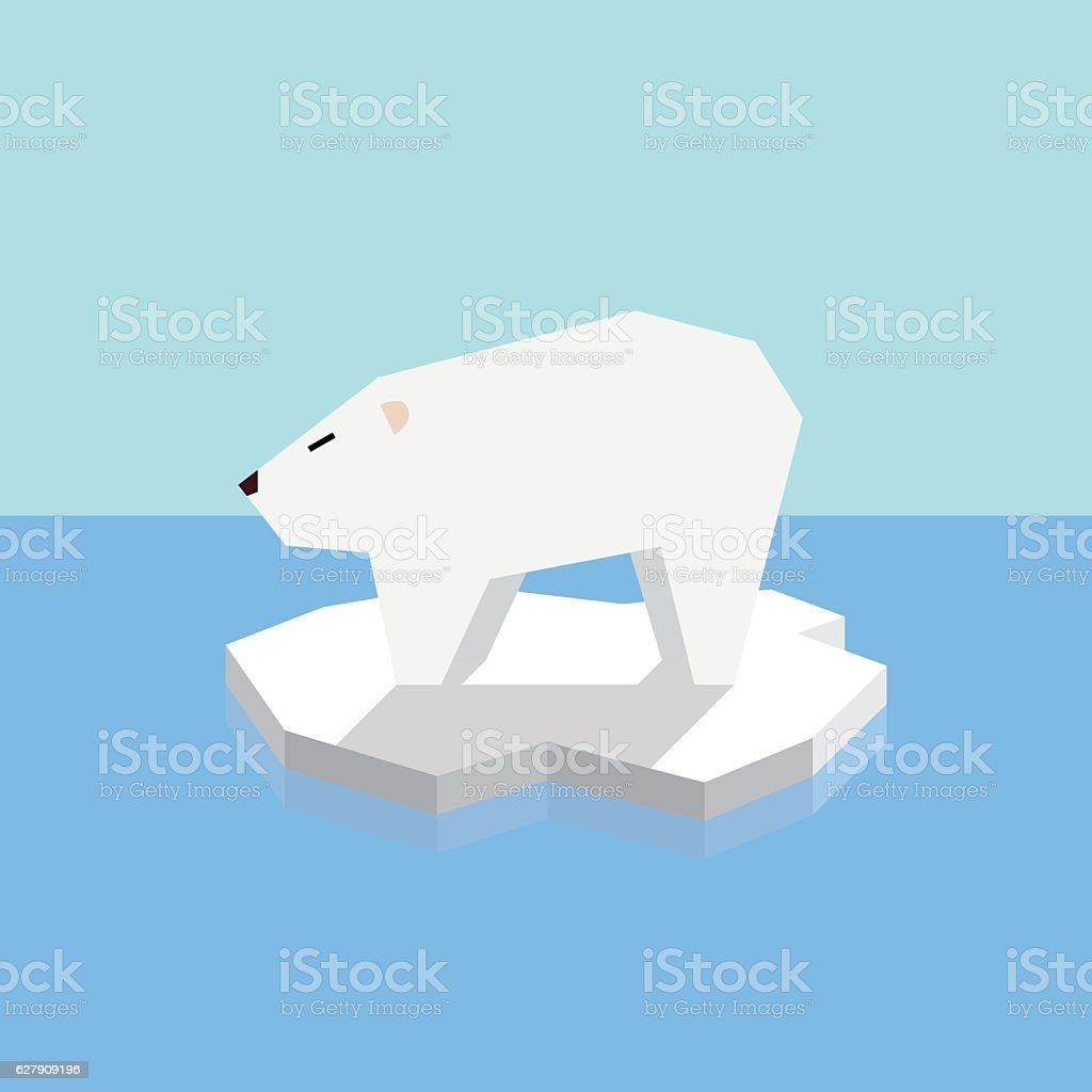 Polar bear on an ice floe vector art illustration