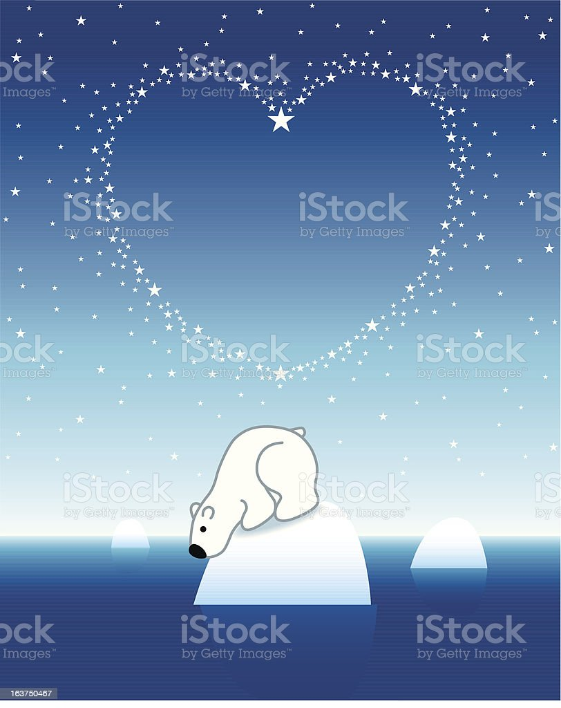 Polar Bear on Iceberg looking down from Star Heart royalty-free stock vector art